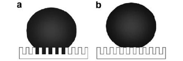 Рис.3. Основные состояния капли на сверхгидрофобной поверхности: а— состояние Венцеля; b— состояние Кассье. Шероховатости поверхности моделируются как сетка из микро- или наноскопических столбиков. Рисунок из статьи «Definition of Superhydrophobic States» в Advanced Materials